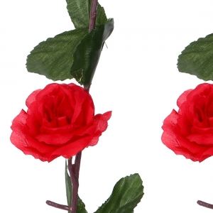 Generic Silk Polyester Artificial Delicate Red Rose Vine Flowers With Green Leaves For Wall Decoration (Color: Red,Length: 7 Feet)