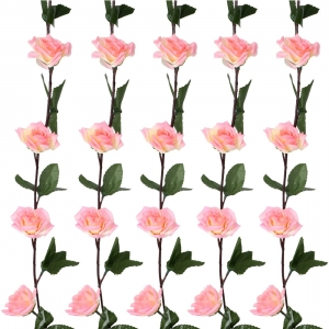 Generic Silk Polyester Artificial Delicate Emma Rose Vine Flowers With Green Leaves For Wall Decoration (Color: Pink-White,Length: 7 Feet)