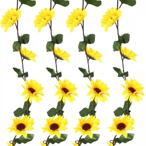 Generic Silk Polyester Artificial Yellow Sunflower Vine Flowers With Green Leaves For Wall Decoration (Color: Yellow,Length: 8 Feet)