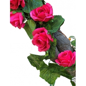 Generic Silk Polyester Artificial Big Dark Pink Rose Vine Flowers With Green Leaves For Wall Decoration (Color: Pink,Length: 7.5 Feet)