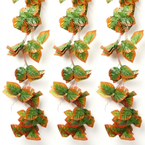 Generic Pack Of 3 Silk Polyester Artificial Shaded Orange Green Leaf Vine Hanging Garland  Foliage Flowers Leaf Plants For Wall Decoration (Color: Orange-Green,Length: 15 Feet)