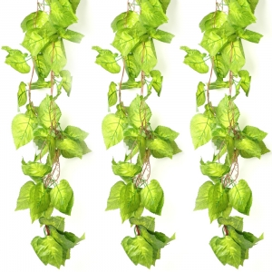 Generic Pack Of 3 Silk Polyester Artificial Money Plant Leaf Vine Hanging Garland  Foliage Flowers Leaf Plants For Wall Decoration (Color: Green,Length: 15 Feet)