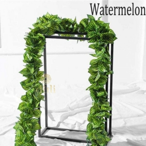 Generic Pack Of 2 Silk Polyester Artificial Watermelon Leaf Vine Hanging Garland  Foliage Flowers Leaf Plants For Wall Decoration (Color: Green,Length: 6.5 Feet)