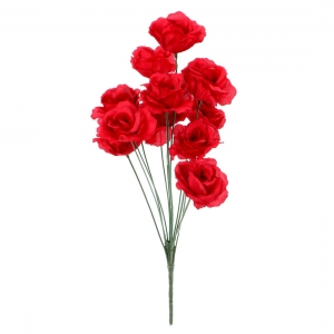 Generic Silk Polyester Artificial Rose Flowers Bunch Bouquet Of 12 Roses For Home Decoration (Color: Red,Length: 17 Inches)