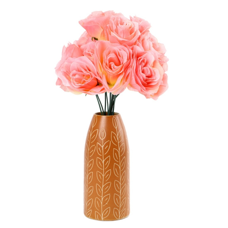 Generic Silk Polyester Artificial Rose Flowers Bunch Bouquet Of 12 Roses For Home Decoration (Color: Pink-White,Length: 17 Inches)