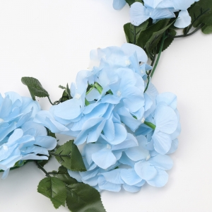Generic Silk Polyester Artificial Hydrangea Vine Flowers With Green Leaves For Wall Decoration (Color: SkyBlue,Length: 7.5 Feet)