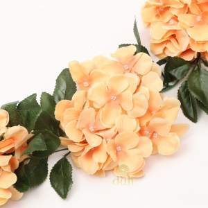 Generic Silk Polyester Artificial Hydrangea Vine Flowers With Green Leaves For Wall Decoration (Color: Peach,Length: 7.5 Feet)