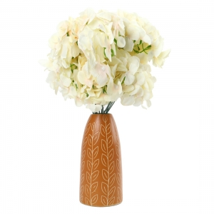 Generic Silk Polyester Artificial Hydrangea Cherry Blossom Flower Stems Bunch Bouquet Of 12 Flowers For Wall Decoration (Color: Cream,Length: 17 Inches)