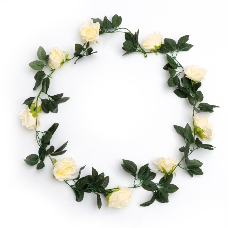 Generic Silk Polyester Artificial Cream Rose Vine Flowers With Green Leaves For Wall Decoration (Color: Cream,Length: 7.5 Feet)