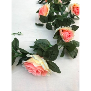 Generic Silk Polyester Artificial Emma Rose Vine Flowers With Green Leaves For Wall Decoration (Color: Pink-White,Length: 7.5 Feet)