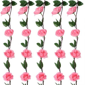 Generic Silk Polyester Artificial Delicaterose Pink Rose Vine Flowers With Green Leaves For Wall Decoration (Color: Pink,Length: 7 Feet)