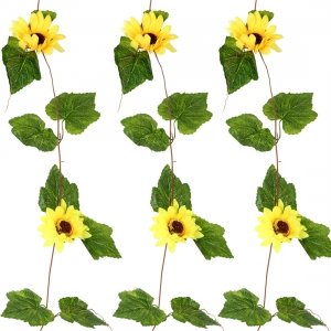 Generic Silk Polyester Artificial Sunflowers Vine Flowers With Green Grape Leaves For Wall Decoration (Color: Yellow,Length: 8 Feet)
