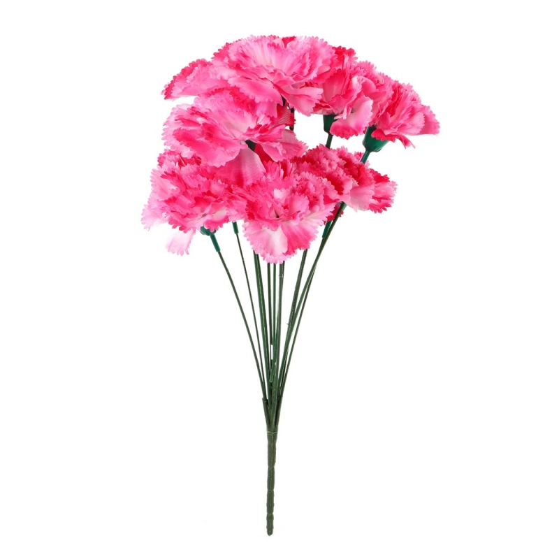 Generic Silk Polyester Artificial Rose Flowers Bunch Bouquet Of 12 Carnations For Home Decoration (Color: Pink,Length: 17 Inches)