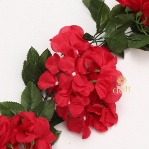 Generic Silk Polyester Artificial Hydrangea Vine Flowers With Green Leaves For Wall Decoration (Color: Red,Length: 7.5 Feet)