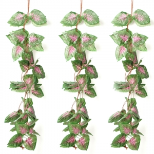 Generic Pack Of 3 Silk Polyester Artificial Shaded Pink Green Leaf Vine Hanging Garland  Foliage Flowers Leaf Plants For Wall Decoration (Color: Pink-Green,Length: 15 Feet)