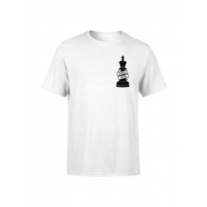 Generic Unisex Half Sleeves King Chess Tshirts (Color:White, Material:Polyester)
