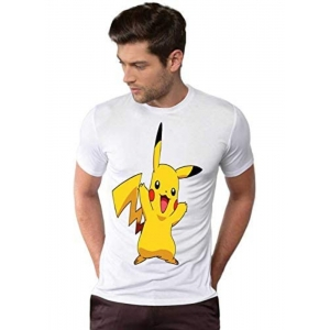 Generic Unisex Half Sleeves Pikachu Tshirts (Color:White, Material:Polyester)