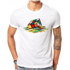 Generic Unisex Half Sleeves Dice Tshirts (Color:White, Material:Polyester)