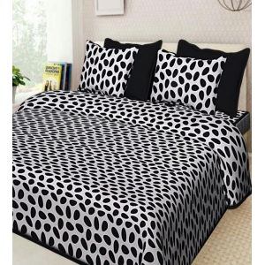 Bhavithram Products Cotton Double Bedsheet with 2 Pillow Covers (Color:Black)