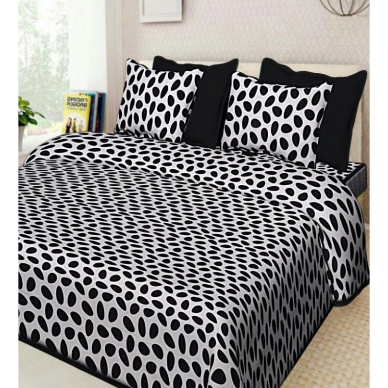 Generic Cotton Double Bed Sheet with 2 Pillow Covers (Color:Black)