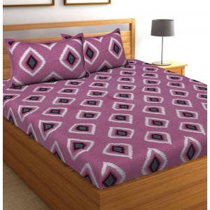 Generic Cotton Double Bed Sheet with 2 Pillow Covers (Color:Purple)