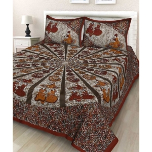 Generic Cotton Double Bed Sheet with 2 Pillow Covers (Color:Brown)