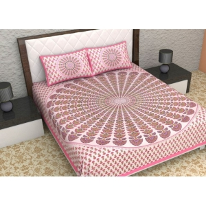 Generic Cotton Double Bed Sheet with 2 Pillow Covers (Color:Pink)