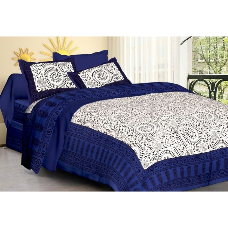 Generic Cotton Double Bed Sheet with 2 Pillow Covers (Color:Dark Blue)