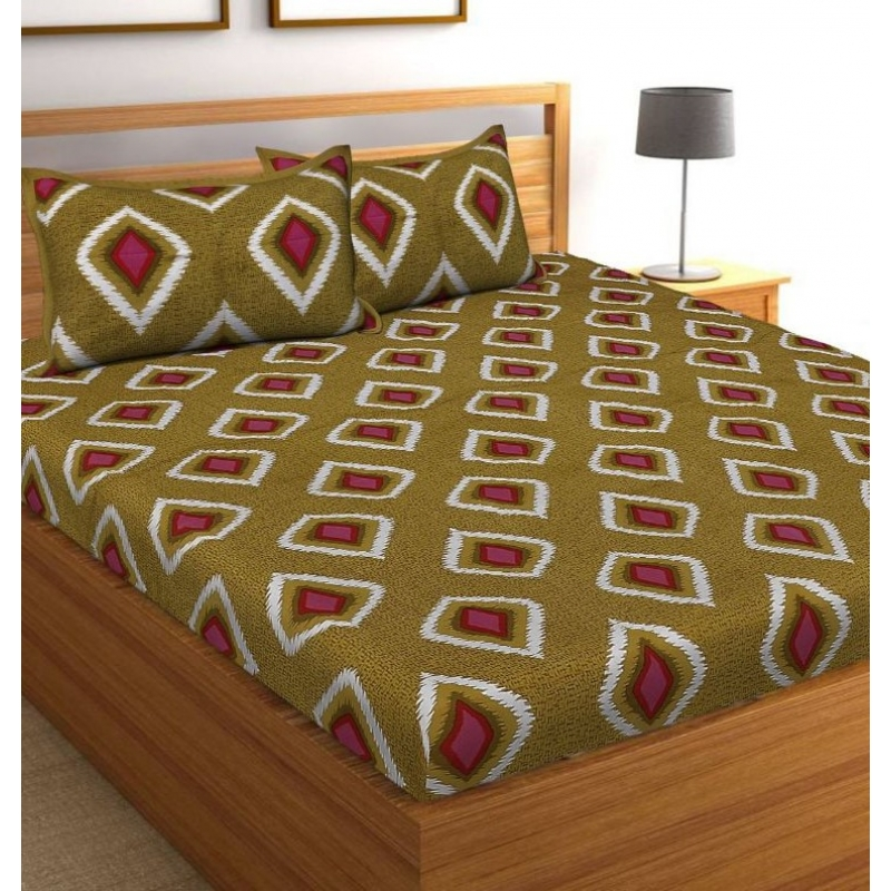 Generic Cotton Double Bed Sheet with 2 Pillow Covers (Color:Mehandi Green)