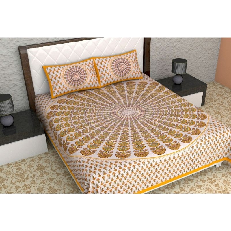 Generic Cotton Double Bed Sheet with 2 Pillow Covers (Color:Yellow)