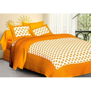 Generic Cotton Double Bed Sheet with 2 Pillow Covers (Color:Mustard Yellow)