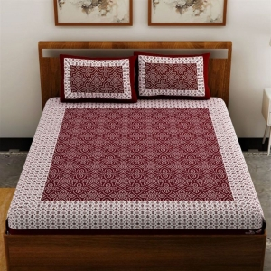 Generic Cotton Double Bed Sheet with 2 Pillow Covers (Color:Maroon)