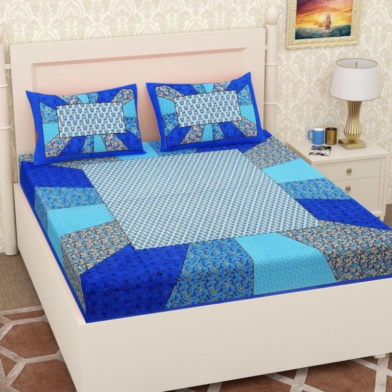 Generic Cotton Double Bed Sheet with 2 Pillow Covers (Color:Blue)