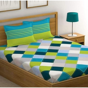 Generic Cotton Double Bed Sheet with 2 Pillow Covers (Color:Multi color)