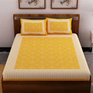 Generic Cotton Double Bed Sheet with 2 Pillow Covers (Color:Musterd Yellow)