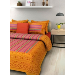 Generic Cotton Double Bed Sheet with 2 Pillow Covers (Color:Orange)