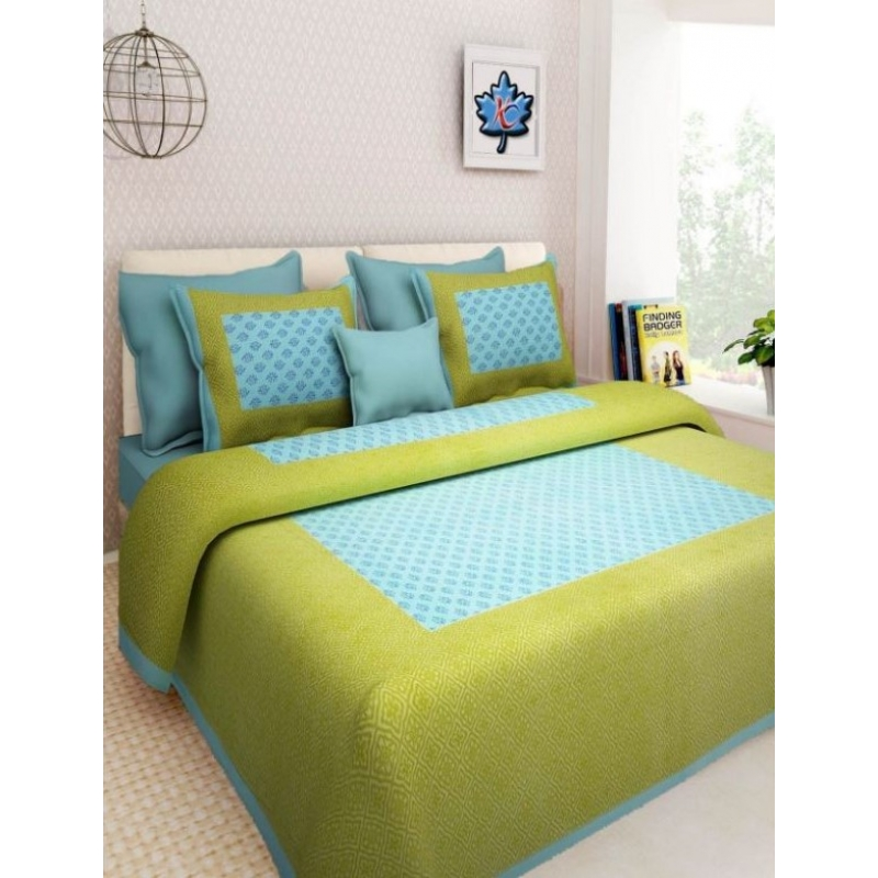 Generic Cotton Double Bed Sheet with 2 Pillow Covers (Color:Seagreen)