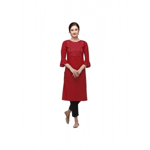 Generic Women's Cotton Three Quarter Sleeves Straight Embroidered Kurti (Neck Type:Round,Color:Maroon)