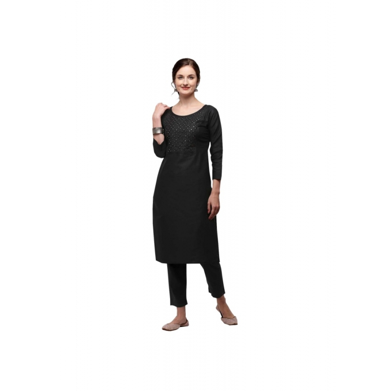 Generic Women's Cotton Three Quarter Sleeves Straight Embroidered Kurti (Neck Type:Round,Color:Black)