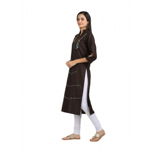 Generic Women's Cotton Three Quarter Sleeves Straight Embroidered Kurti (Neck Type:Round,Color:Brown)