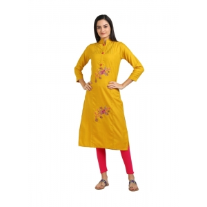 Generic Women's Cotton Three Quarter Sleeves Straight Embroidered Kurti (Neck Type:Round,Color:Yellow)