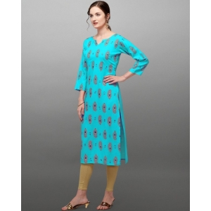 Generic Women's Rayon Three Quarter Sleeves Straight Foil Printed Kurti (Neck Type:Round,Color:Skyblue)