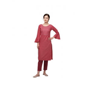 Generic Women's Cotton Three Quarter Sleeves Straight Embroidered Kurti (Neck Type:Round,Color:Pink)