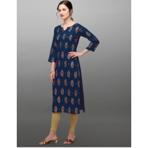 Generic Women's Rayon Three Quarter Sleeves Straight Foil Printed Kurti (Neck Type:Round,Color:Navy)
