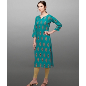 Generic Women's Rayon Three Quarter Sleeves Straight Foil Printed Kurti (Neck Type:Round,Color:Teal)