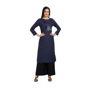 Generic Women's Cotton Three Quarter Sleeves Straight Embroidered Kurti (Neck Type:Round,Color:Navy)