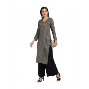 Generic Women's Cotton Three Quarter Sleeves Straight Embroidered Kurti (Neck Type:Round,Color:Grey)