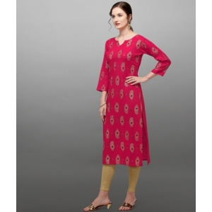 Generic Women's Rayon Three Quarter Sleeves Straight Foil Printed Kurti (Neck Type:Round,Color:Pink)