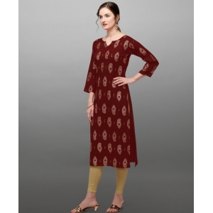 Generic Women's Rayon Three Quarter Sleeves Straight Foil Printed Kurti (Neck Type:Round,Color:Maroon)