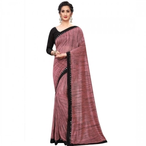Generic Women's Lycra Silk Saree With Blouse(NavyBlue,5-6Mtrs)